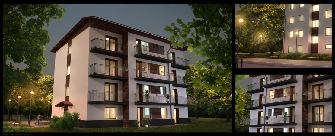 Residential-block-at-night